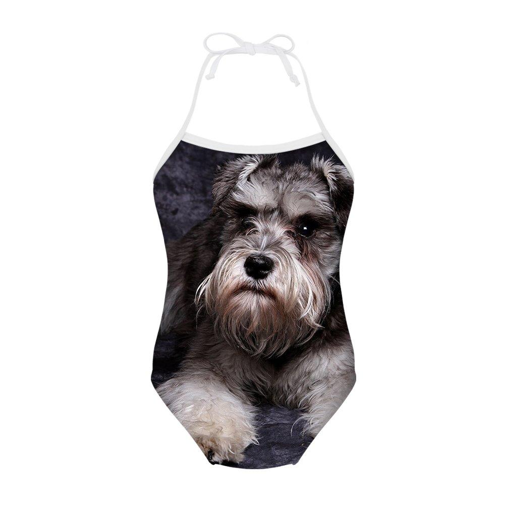 doginthehole Girls Animal Design One Piece Swimsuits Halter Bathing Suit Swimwear