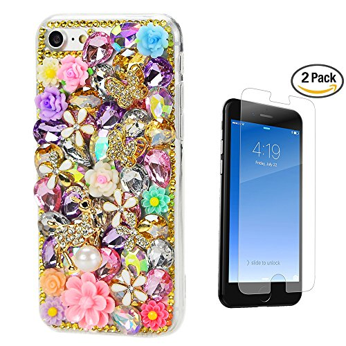 STENES iPhone 8 Case - 3D Handmade Luxury Deer Butterfly Rose Flowers Floral Sparkle Rhinestone Design Cover Bling Case for iPhone 7 / iPhone 8 Screen Protector & Retro Dust Plug - Colorful