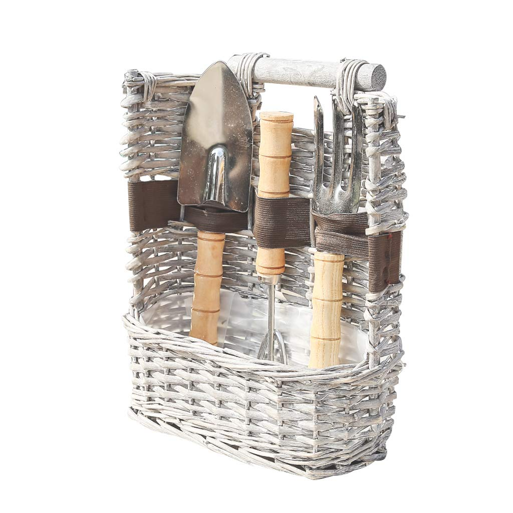 French Grey willow Garden Basket with Tools Dibor