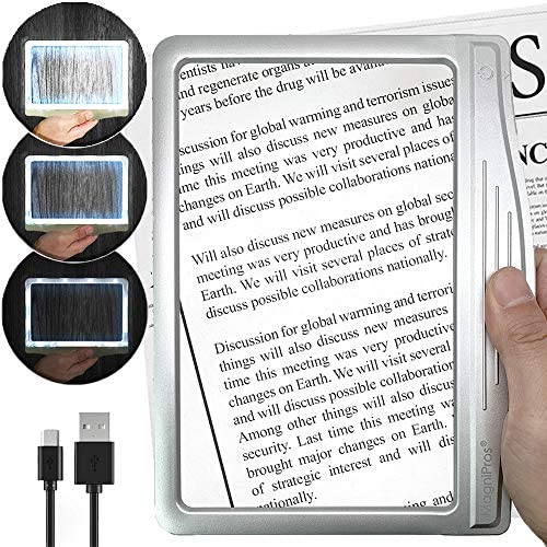 [Rechargeable] 3X Large Ultra Bright LED Page Magnifier with 12 Anti-Glare Dimmable LEDs(Evenly Lit Viewing Area & Relieve Eye Strain)-Ideal for Reading Small Prints & Low Vision Seniors