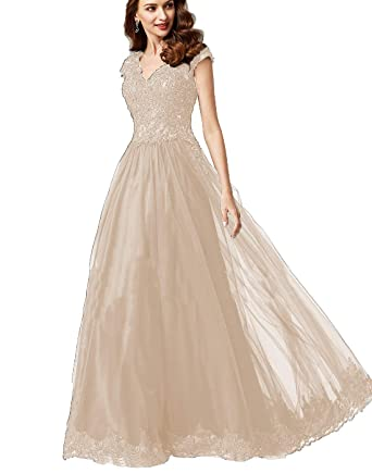 1e400dcc6b5 Women s V-Neck Lace Tulle Prom Dress with Cap Sleeves Long A-Line Formal