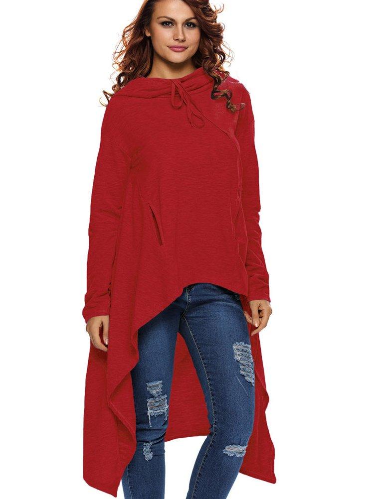LAEMILIA Femme Automne Hiver Plain Manches Longues Tunique Pull-Over Jumper Hoodies Blouse Irrégulières Longue Robe DOK17