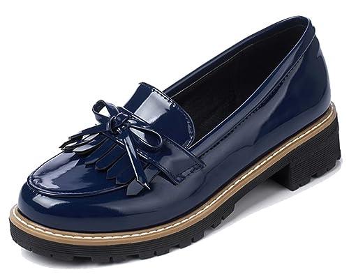 HiTime Zapatilla Baja de Charol Mujer, Color Azul, Talla 38: Amazon.es: Zapatos y complementos
