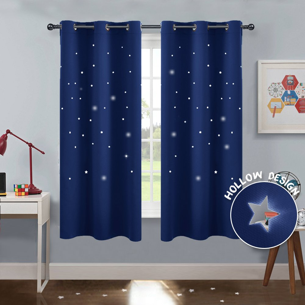 PONY DANCE Blue Star Curtains - Cutout Blackout Drapes Night Starry Sky Grommet Window Treatments Themal Insulated Twinkle Stars for Nursery Home Decoration, W 42'' by L 63'', Navy Blue, 2 Panels