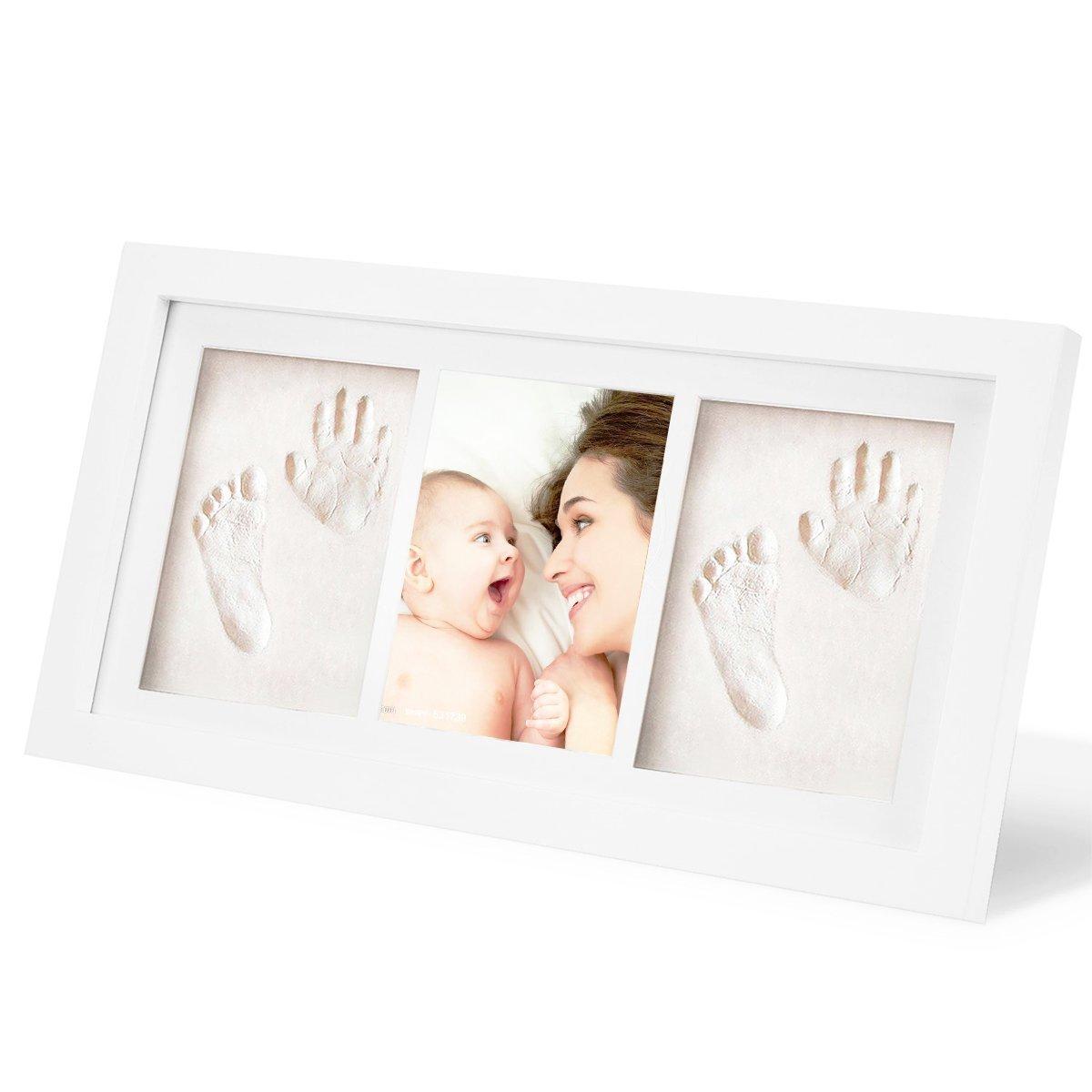 Regalos Originales para el Reci/én Nacido y Fiesta de Bienvenida al Beb/é Marco de madera s/ólida SOLEILER beb/é Handprint y huella Marco de fotos