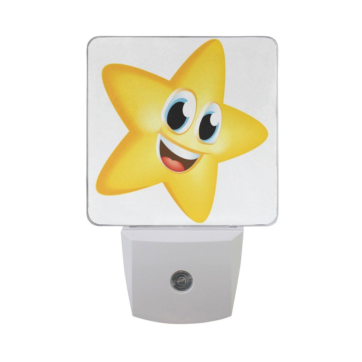 プラグインLED夜ライトランプCartoon Star印刷with Dusk to Dawnセンサーのベッドルーム、バスルーム、廊下、階段、2 pack-0.5 W B07CTHWT8T