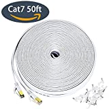 50 feet cat 7 - Ethernet cable for PS4, 50 ft Cat 7 Slim High Speed Wire Internet Cable with clips, Faster than Cat6 Cat5,Computer Network cord with Shielded (STP) RJ45 Plugs for PS3, MAC Pro, TV, Laptop- White(15M)
