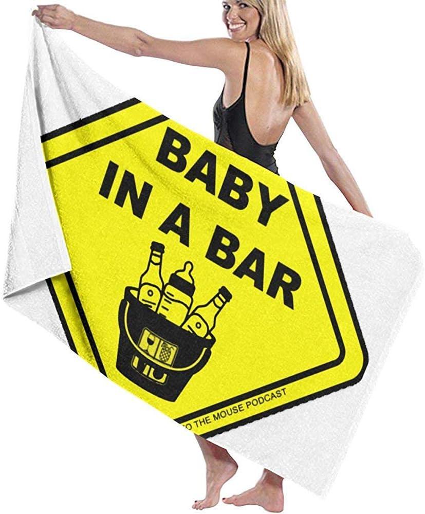 Precaución Bebé en un Bar Toallas de Tela de impresión DIY Toalla de baño 80x130cm / 32x52inch Poliéster de Secado rápido Blanco