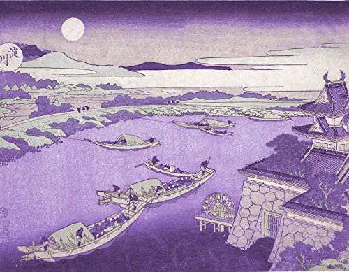 ArtVerse HOK062A1418A Japanese River in Moonlight in Purple Removable Art Decal 14