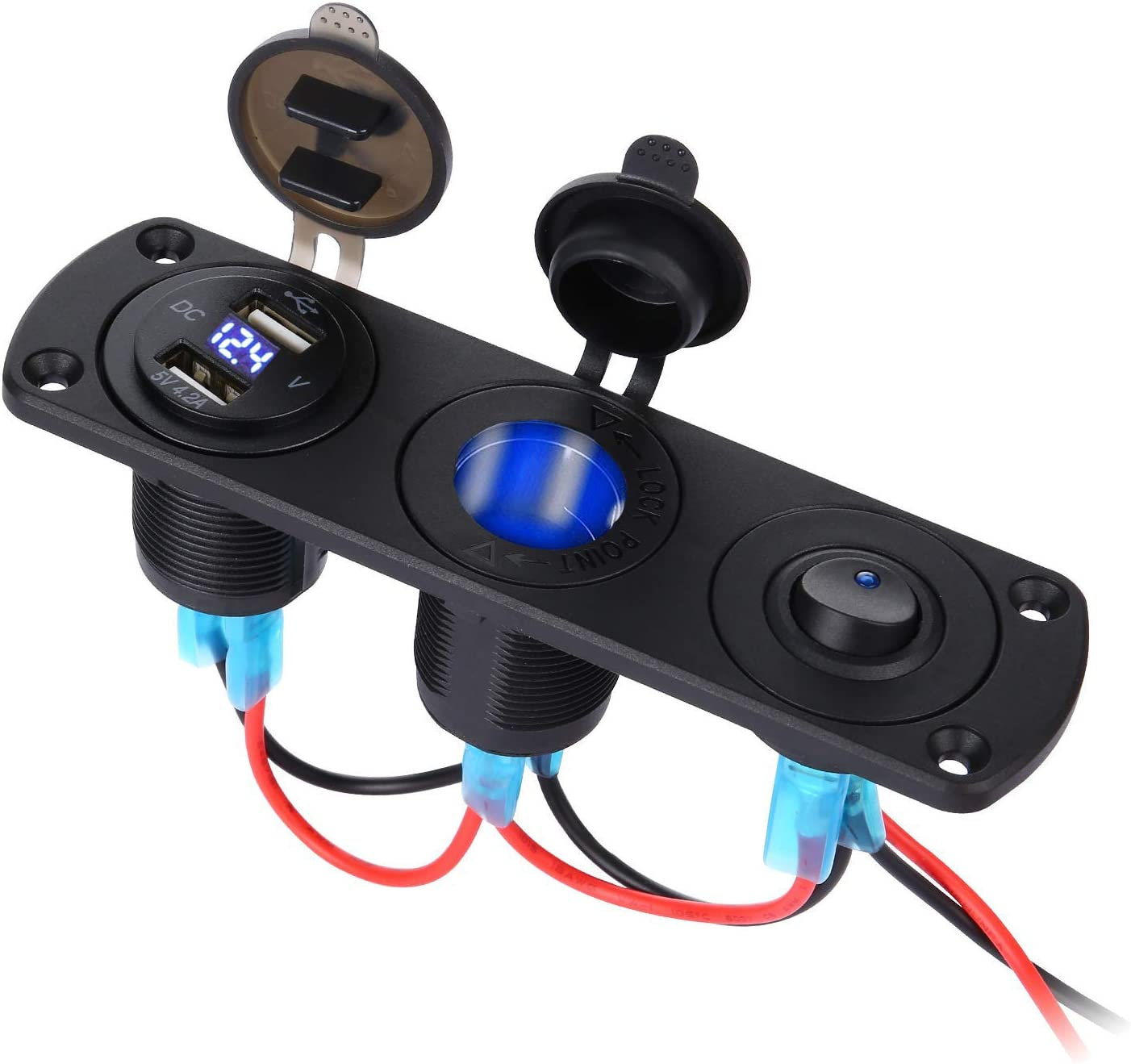 Thlevel USB de Cargador Coche Panel de Enchufes 12V / 24V 36W, Dual USB Cargador con Voltímetro Digital LED y Encendedor de Cigarrillos y LED Azul Interruptor, para Coche, Marina, Barco, Camión