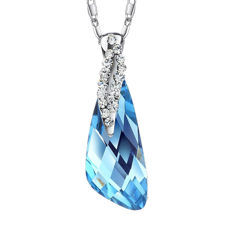 Neoglory Collar Colgante Elegante Brillante Cristal Azul Blancos Rhinestones Checos Chapado Oro