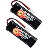 FLOUREON 2Packs 7.2V 3500mAh Flat NiMH High Capacity Battery Pack with Tamiya Connectors for Redcat Volcano EPX RC10 Cars Hornet Revo 3.3 RC Cars RC Truck RC Airplane RC Helicopter RC Boat