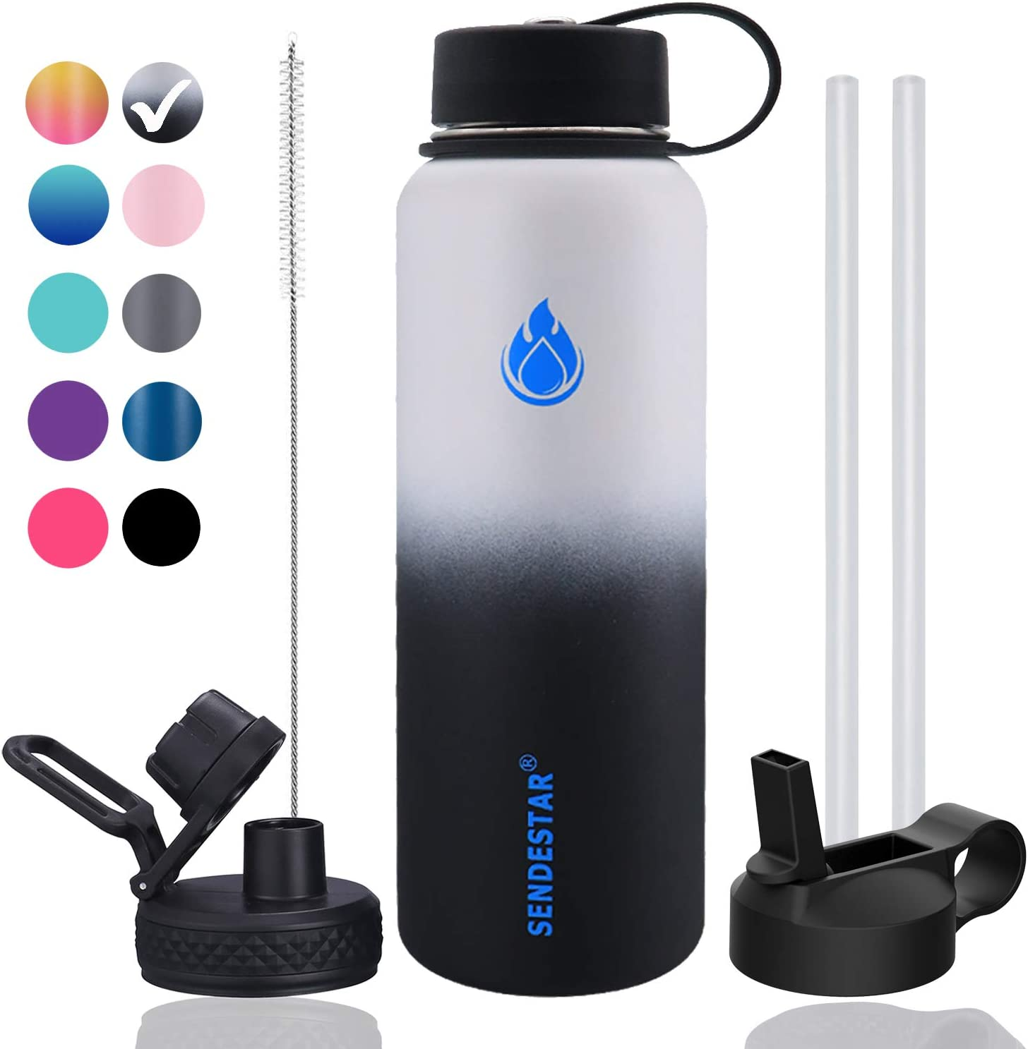 SENDESTAR Stainless Steel Water Bottle,2 or 3 Lids(18 oz, 24oz,32 oz,40 oz or 64oz),Double Wall Vacuum Insulated Leak Proof, Wide Mouth with Straw Lid,Spout Lid (40 oz, 40 oz-Day/Night (3 LIDS))