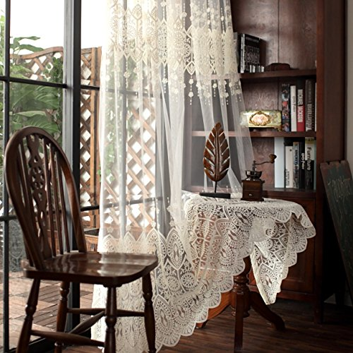 AiFish European Embroidered Beige Sheer Tulle Curtains Lace Curtain Rod Pocket Window Treatment Home Decor Shiny Transparent Gauze Voile for Living Room 1 Piece/Panel W39 x L63 inch