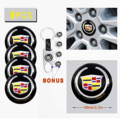 Car concentration camp 4PCS 56mm Wheel Center Hub Caps Decals Emblem Stickers Fit for Cadillac with Bonus Tire Valve Stem Caps Cover Set (for Cadillac): Automotive