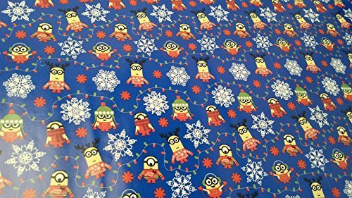 Christmas Wrapping Minion Snowflake Holiday Paper Gift Greetings 1 Roll Design Festive Wrap Minion Blue