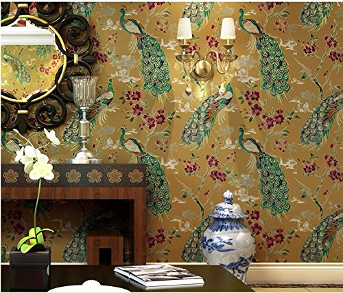 Exotic Southeast Asia style retro green peacock wallpaper living room bedside background wallpapers 5.3 square meters,D