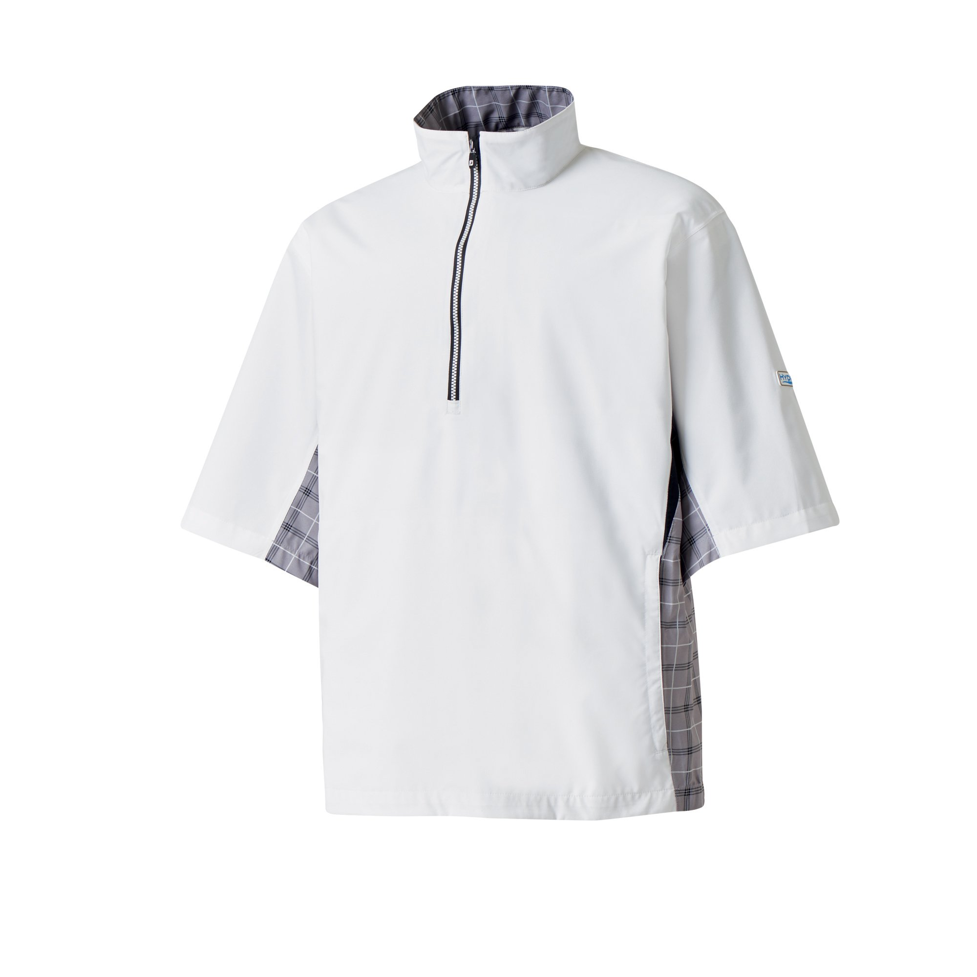 FootJoy Hydrolite Short Sleeve Rain Shirt (White/Grey Check/Black, Large)
