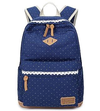 7dea9496424fc 5 ALL Fashion Mädchen Schulrucksack Damen Canvas Rucksack Teenager  Baumwollstoff Schultasche Outdoor Freizeit Daypacks mit Schicker
