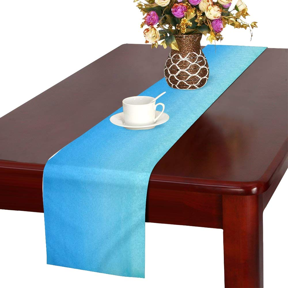 Jnseff Watercolor Blue Teal Watercolour Table Runner, Kitchen Dining Table Runner 16 X 72 Inch For Dinner Parties, Events, Decor