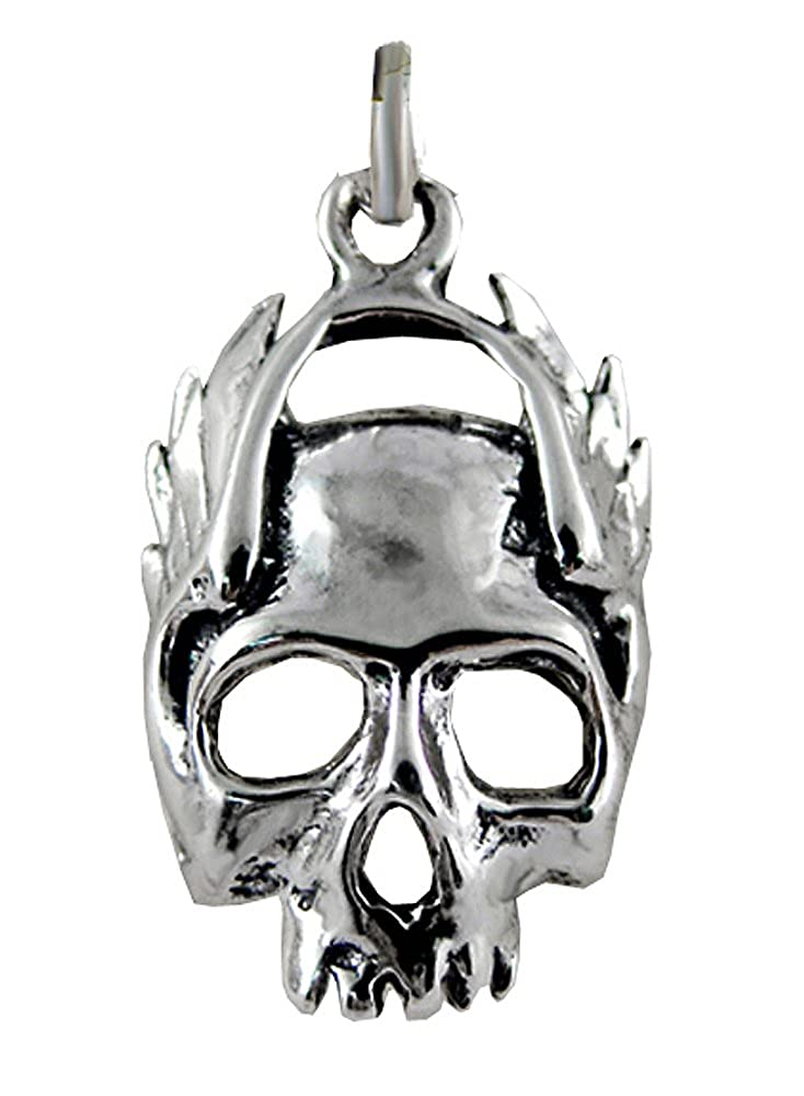 Sterling Silver Flaming Skull Charm