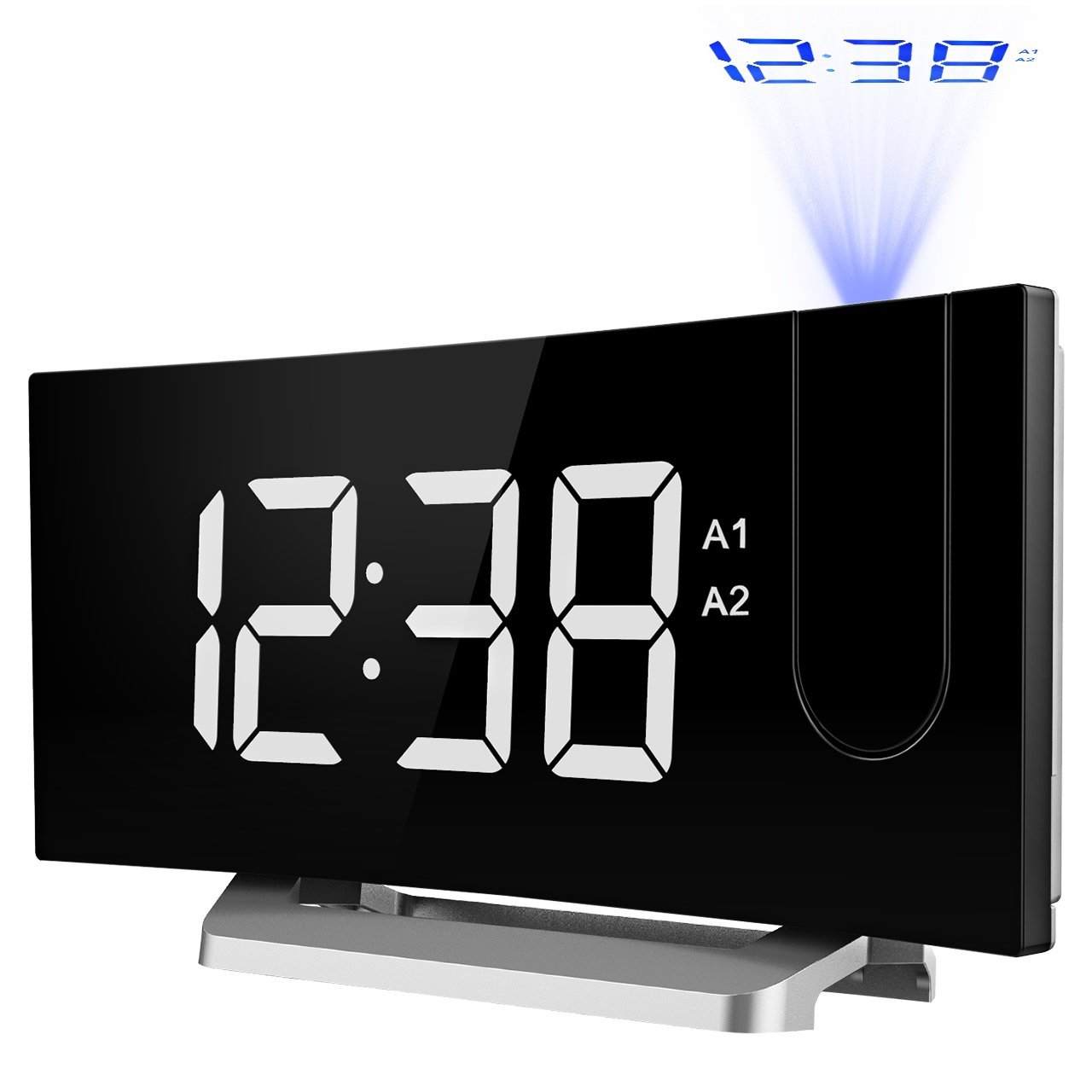 TOPELEK Projection, FM Radio Multiple Voice, Dual, 5'' Curved-Screen Digital Alarm Clock Adjustable Dimmer, Snooze Mode, Sleep Timer, USB Charging Port.Blue Projection Clock