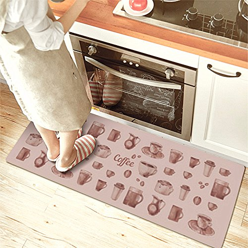 USTIDE Classic Anti-Fatigue Kitchen Comfort Chef Floor Mat, 17.7x59,French Roast Non-slip Waterproof Kitchen Runner,Oil Proof Multi Area Rugs by USTIDE