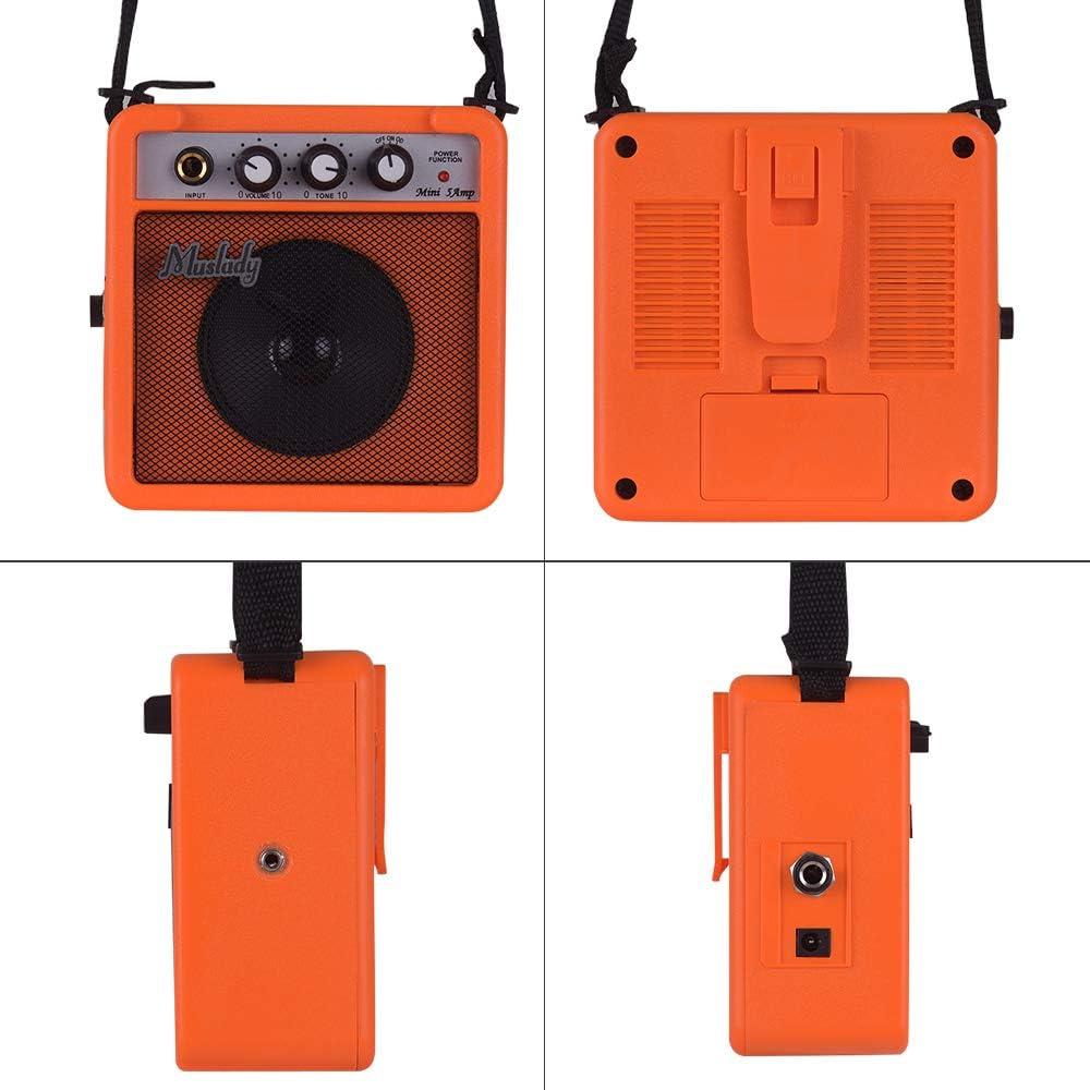 Muslady 5W Mini Altavoz Amplificador de Guitarra con Entradas de 3,5 mm y 6,35 mm Salida de 1//4 pulg Compatible con Aajuste de Tono de Volumen Overdrive