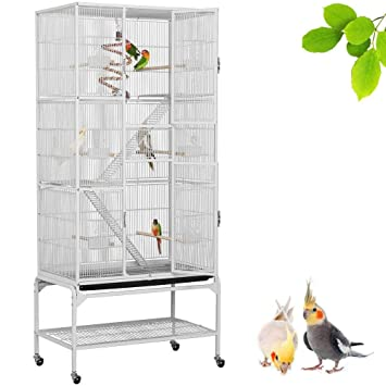 65d680bd2efed Yaheetech 175cm Large Iron Parrot Cage Bird Cage Play House Height Budgies  Finches Canary Conure Cockateil Lovebirds African grey parrot and mid-sized  ...