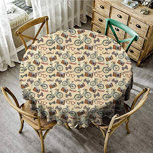 DONEECKL Round Tablecloth Retro Hipster Lifestyle in Urban