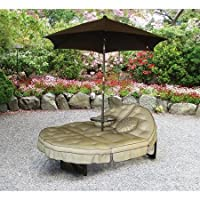 Deals on Mainstays Deluxe Orbit Chaise Lounge w/Umbrella & Side Table Seats 2