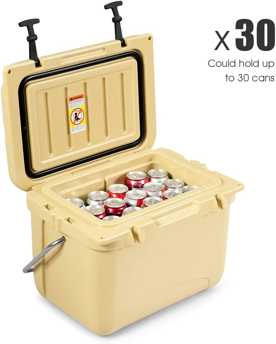 Goplus 22 Quart Cooler, Portable Ice Chest, Insulated Box Cooler, 4-Day Ice Retention 30 Cans Capacity Camping Cooler with Carrying Handle for Camping, Fishing, Outdoor Activities Khaki