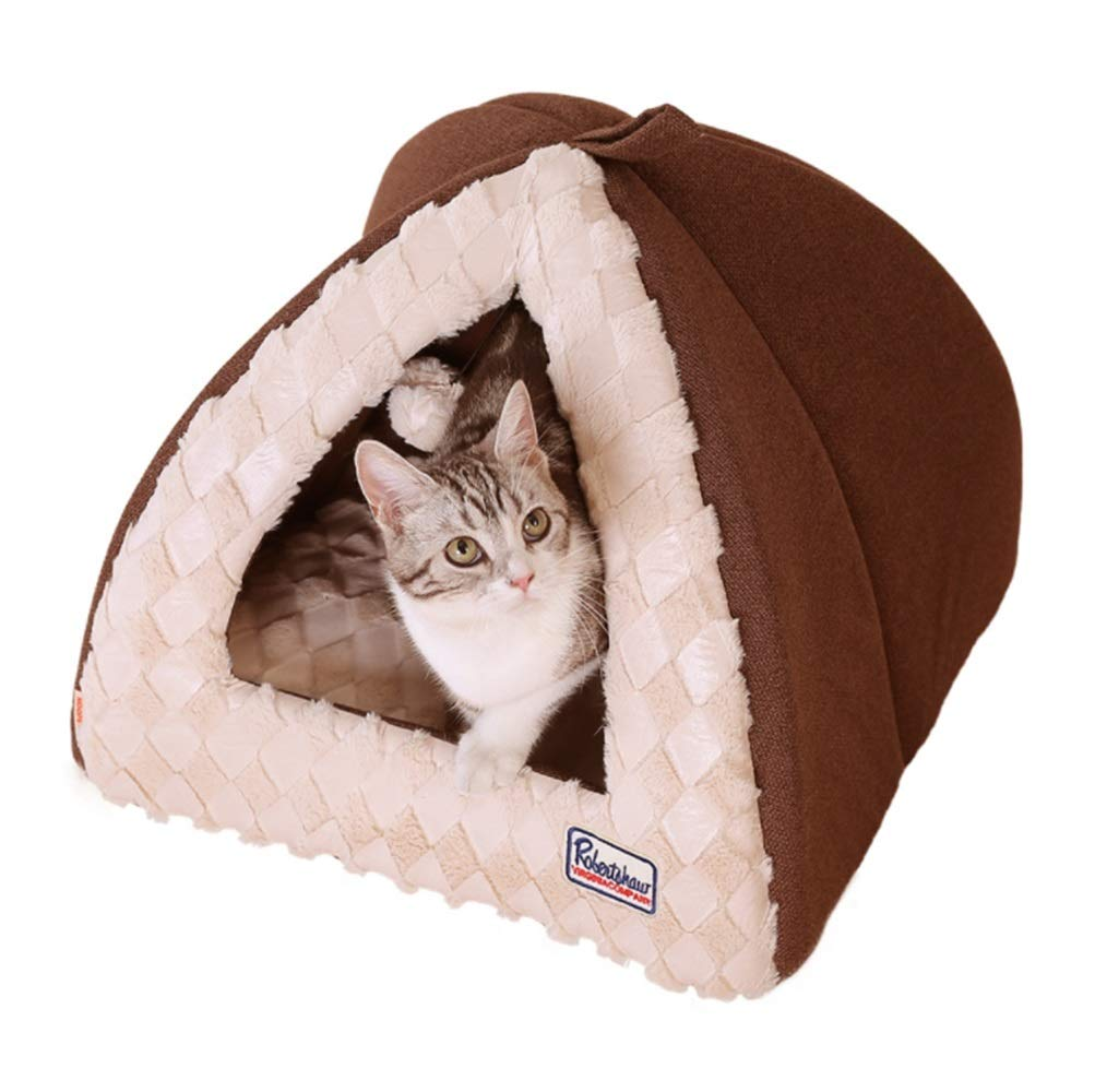 Brown M Brown M Cvthfyky Autumn And Winter Warm Pet House Doghouse Dog House Cat Litter Cat House Cat House Teddy Bear Yurt Nest Pet Supplies (color   Brown, Size   M)