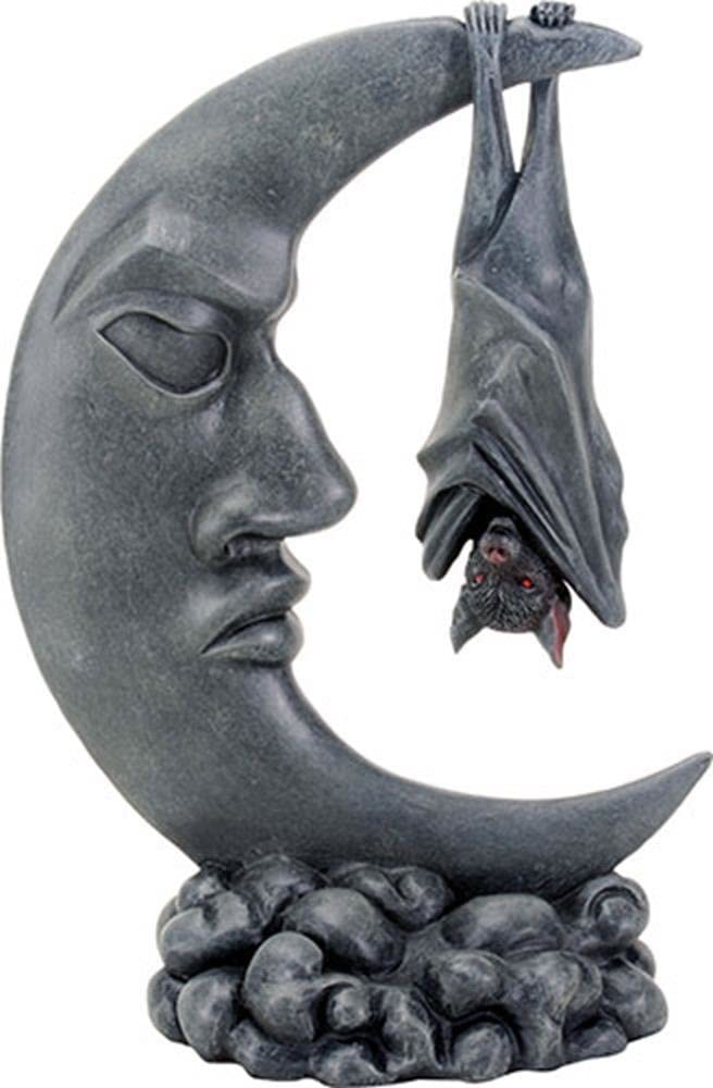 Amazon Com Ytc 8 Inch Dark Grey Closed Winged Bat Hanging Upside Down On A Moon Home Kitchen