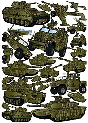 24 Green Military Tank Wall Stickers and Armored Trucks Wall Decals