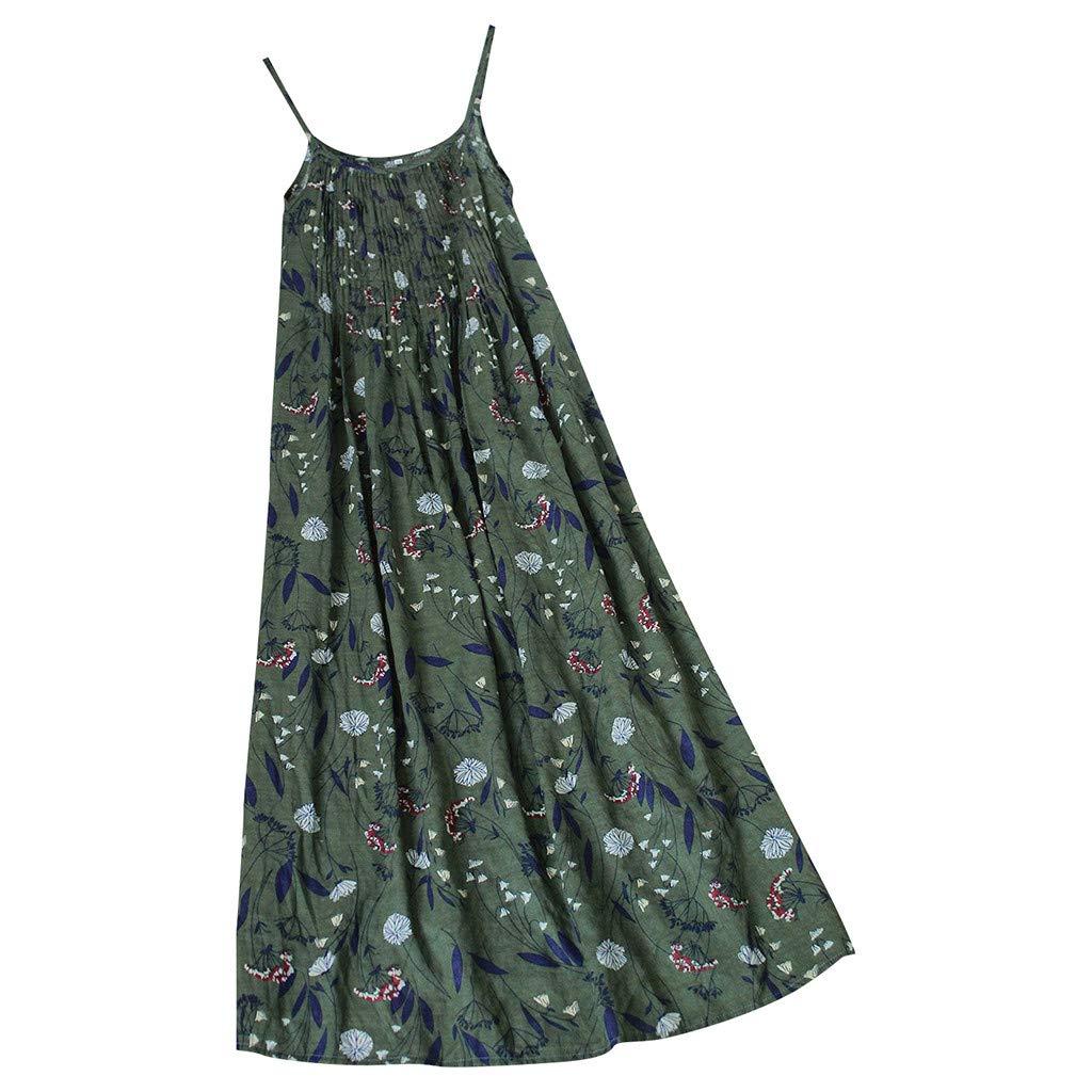 ZOTTOM❤❤Femmes Vintage boh/ème imprim/é Floral Manches Sangles O-Neck Maxi Dress