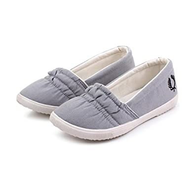 Easy Go Shopping Gemütlich Frauen Casual Flache Ballettschuhe Slip-on Loafers Mädchen Leinwand Low Top (Color : Gray, Size : 38 EU)