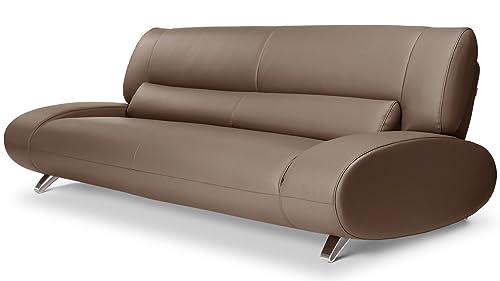 Zuri Furniture Modern Aspen Brown Microfiber Leather Sofa