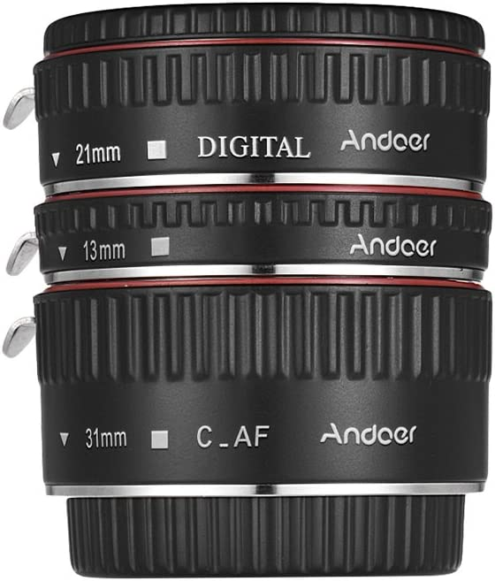 Andoer Upgraded Macro Extension Tube Set 3-Piece 13mm+21mm+31mm Auto Focus Extension Tube Rings for Canon EOS Camera Body and Lens of The 35mm SLR for Canon All EF and EF-S Lenses