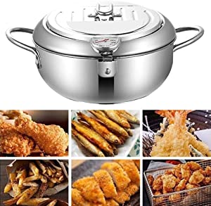 Deep Fryer,Tempura Stainless Steel Cookware With Thermometer And Lid Nonstick Fryer Japanese Fryer Pot For Kitchen Cooking-silver,8inches