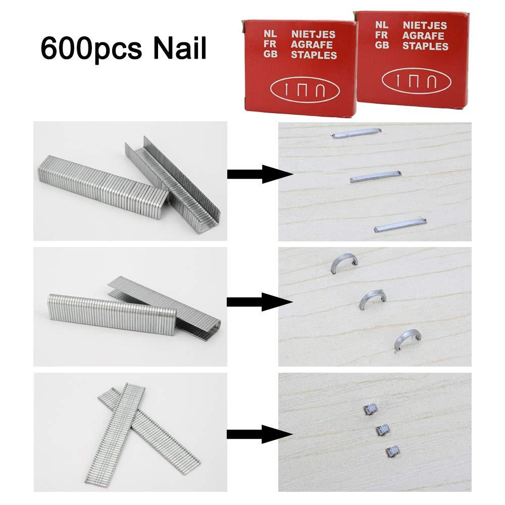 menuiserie affiches publicitaires Noir mat/ériel de fixation d/écoration meubles senzeal Pistolet agrafeuse 3/en 1/avec 600/agrafes pour tapisserie