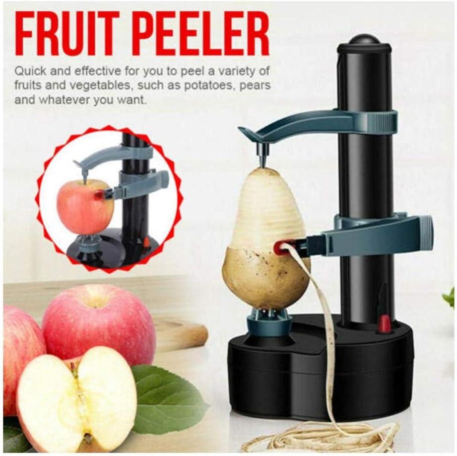 Pelador Electrico Multifuncional para Cuchillas de acero inoxidable Peladora Peladora eléctrica automática Máquina de pelar naranja de frutas de papa Creativa-Negro