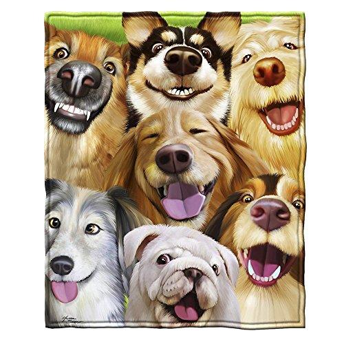 Dogs Selfie Fleece Throw Blanket