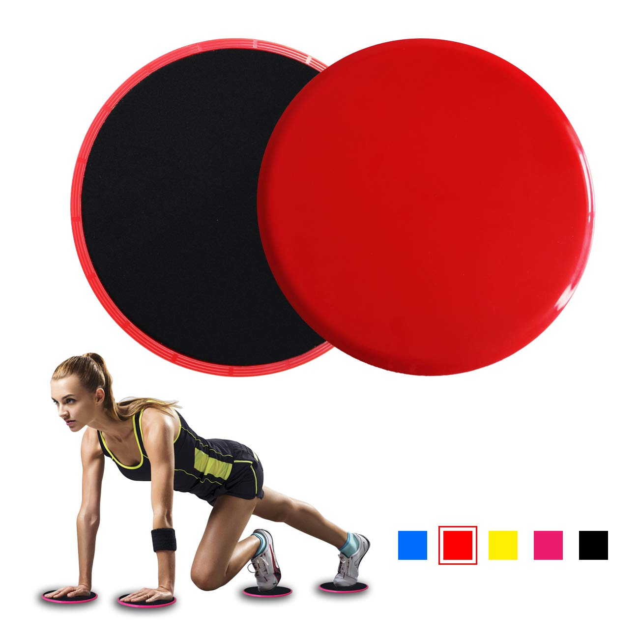 2PCs Dual Sided Core Sliders Compact Travel Home Workout Full Body Exercise Equipment Work Smoothly on Any Surface Dual Sided Use on Carpet or Hardwood Floor Low-Impact Exercises to Strengthen Core Abs Full Body Workout IDEALUX Exercise Sliders