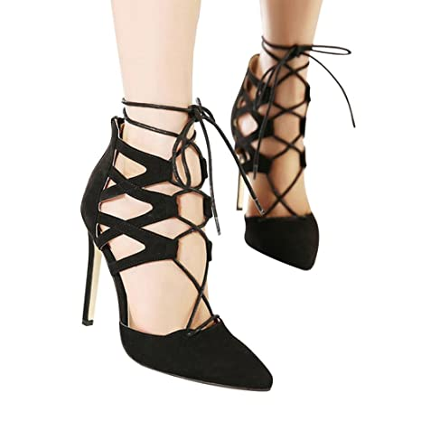 ce8cb4f8e46d HOT Sale! Women Sandals WuyiMC Summer Ladies High Block Heels Ankle Strappy  Lace-UP