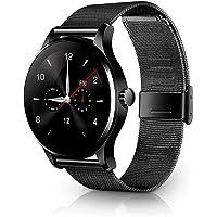Redlemon Smartwatch Bluetooth, Notificaciones de Mensajería y Redes Sociales, Monitor de Ritmo Cardiaco, Podómetro, Contador de Calorías y Distancia, Pantalla Táctil, Compatible con iOS y Android, Elegante, Modelo K88H.