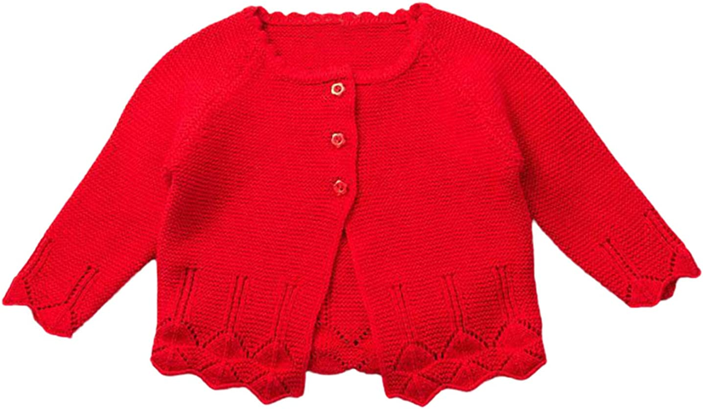 Baby Girls Princess Knit Cardigan Infant Ruffle Sweater Jacket Coat for Dresses Button-Down