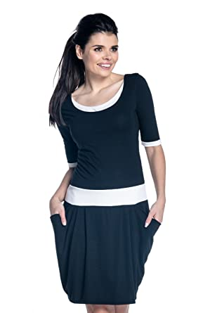 9666c088419cb Zeta Ville - Womens nursing dress pockets contrast details layered neck -  698c (Black,