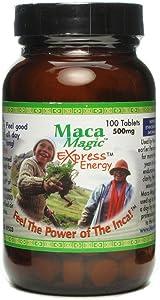 Maca Magic Express Energy Tablets 800mg (100ct) 100% Organic Peruvian Premium Grade Maca - Full Spectrum Blend of Black Maca, Red Maca, Purple Maca, and Yellow Maca - Gluten Free - Vegan - Kosher