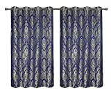 CaliTime Pack of 2, Supersoft Grommets Window Curtains Panels for Bedroom, Each Panel 55 X 84 Inches, Total 110 X 84 Inches, Vintage Damask Floral, Navy Blue For Sale